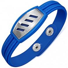 Gumený modrý náramok, grécky kľúč, oceľová známka