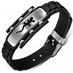 Čierny gumený náramok, hodinkový remienok, jašterička na známke