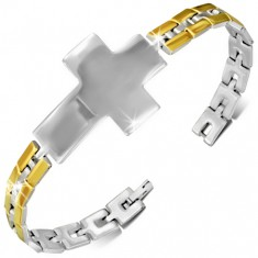 Náramok na ruku z ocele - strieborný kríž, zlaté články