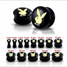 Čierny sedlový plug do ucha s maslovo-žltým zajacom