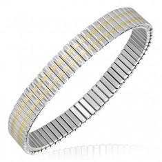 Strieborný rozťahovací náramok z ocele, dva zlaté pásy