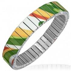 Flexibilný náramok z ocele, farebné abstraktné vzory