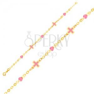 2495d11b2 Zlatý náramok 375 na ruku - ružové emailové krížiky, sklenené guľôčky,  retiazka