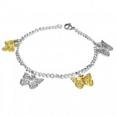 Oceľový náramok so striebornými a zlatými motýľmi