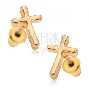 df153df57 Náušnice s lesklým povrchom v zlatej farbe, latinský kríž | Piercing ...