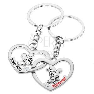 0eefa573b Kľúčenky pre dvojicu - Mickey a Minnie v srdciach | Piercing Shop