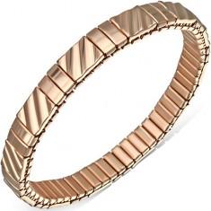 Rozťahovací zlatý náramok z ocele, šikmé zaoblené pásy
