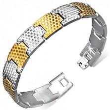 Náramok z ocele, články striebornej a zlatej farby so vzhľadom kože