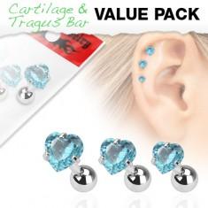 Sada troch oceľových piercingov do ucha, akvamarínový zirkón - srdce
