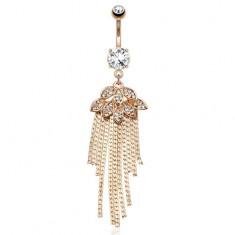Zlatý piercing do pupka z ocele, listy a retiazky, číre brúsené kamienky