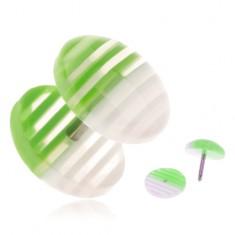 Fake plug z akrylu, priehľadné kolieska s bielymi a zelenými prúžkami