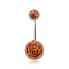 Piercing do pupku, akrylové guličky s leopardím vzorom