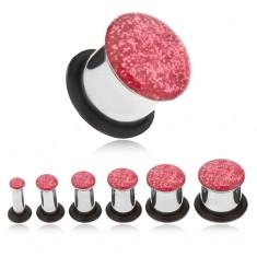 Oceľový tunel plug do ucha, ružové glitre