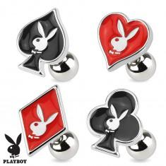 Oceľový piercing do tragusu, symboly hracích kariet, Playboy