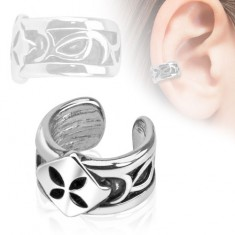 Fake piercing do ucha, ródiovaný, štvorec so štvorlístkom