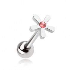 Piercing do jazyka z ocele, kvet s ružovým zirkónom