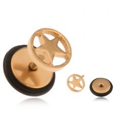 Oceľový fake plug zlatej farby, hviezda v kruhu