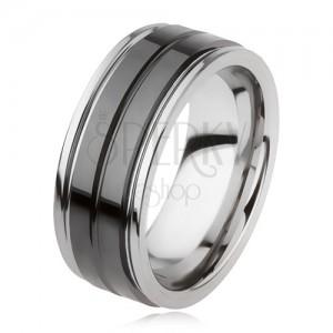 fe04f94a4 Wolfrámový prsteň s lesklým čiernym povrchom a zárezom, strieborná farba