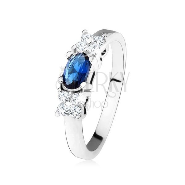 Lesklý prsteň - striebro 925, tmavomodrý oválny zirkón, štvorlístok, číre kamienky