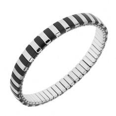 Náramok z ocele, strieborná a čierna farba, úzke pásiky, rozťahovací remienok