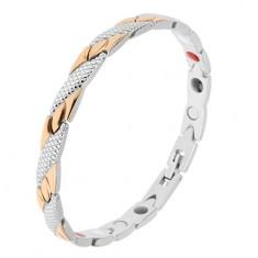 Náramok z ocele zlatej a striebornej farby, šikmé pásiky, hadí vzor, magnety
