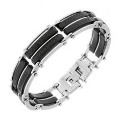 Náramok z ocele, čierne gumené časti s pásikmi striebornej farby, grécky kľúč