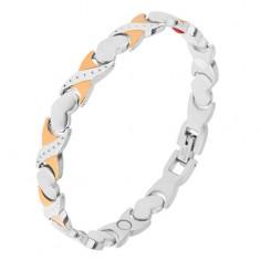 """Magnetický náramok z ocele, strieborná a zlatá farba, články """"X"""", srdcia"""
