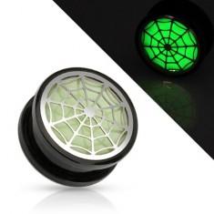 Akrylový tunel plug do ucha, čierna farba, pavučina žiariaca v tme