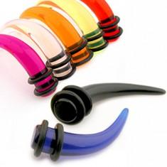 Akrylový taper do ucha - pazúr v rôznych farbách a veľkostiach, gumičky