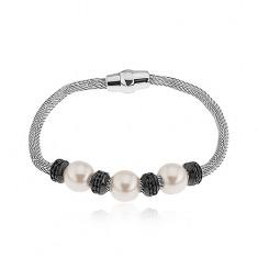 Náramok z ocele, sieťovaný remienok, čierne kolieska, perleťové korálky