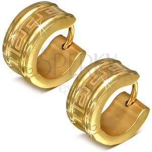 9120525e3 Okrúhle náušnice z chirurgickej ocele zlatej farby, motív gréckeho kľúča