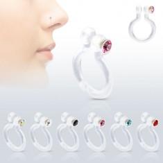 Fake piercing do nosa z Bioflexu, trblietavý zirkónik, rôzne farby