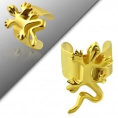 Falošný piercing do ucha z chirurgickej ocele, zlatá farba, lesklá jašterička