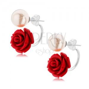 c42abe044 Obojstranné strieborné náušnice 925, perleťovo biela gulička, bordová ruža
