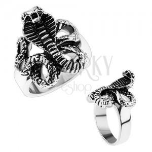 4a822a18d Mohutný oceľový prsteň, lesklé ramená, patinovaný had - kobra ...