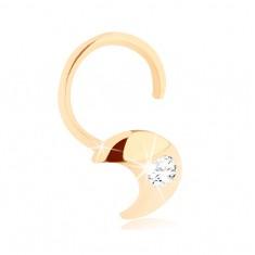 Zlatý piercing do nosa 585 - zahnutý, kosáčik mesiaca s čírym zirkónikom