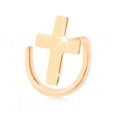 Piercing do nosa v žltom 14K zlate - zahnutý, lesklý latinský krížik