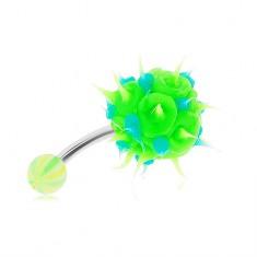 Oceľový piercing do brucha, zeleno-modrý silikónový ježko