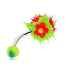 Oceľový piercing do pupka, zelená strapatá gulička zo silikónu, ružové kvety