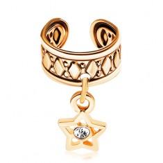Falošný piercing do ucha z chirurgickej ocele, povrch zlatej farby, hviezdička