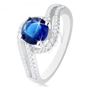 92e5bf50d Strieborný prsteň 925, číre dvojité vlnky, okrúhly tmavomodrý zirkónik