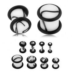 Akrylový plug do ucha bielej farby, čierny mramorový vzor, dve gumičky
