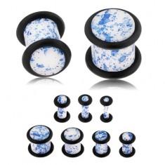 Plug do ucha z akrylu, biely povrch pofŕkaný modrou farbou, gumičky