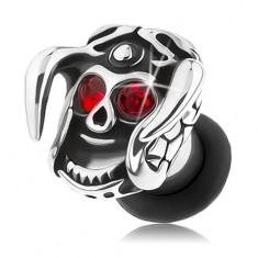 Oceľový plug do ucha, lebka s prilbou a rohami, červené zirkóny, patina