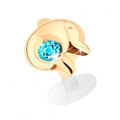 Piercing do brady a pery v žltom 14K zlate, ligotavý delfín s modrým zirkónom