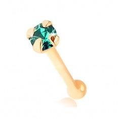 Rovný piercing do nosa zo žltého 9K zlata, okrúhly smaragdovo zelený zirkón