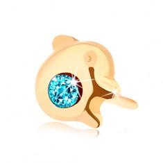 Zlatý piercing do nosa 585, rovný - lesklý delfínik s modrým zirkónom