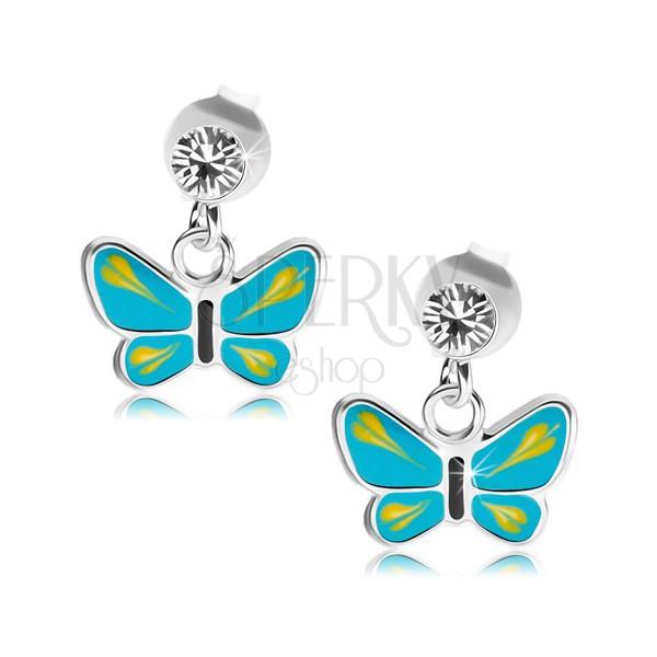 b3702204f Strieborné 925 náušnice, číry krištálik Swarovski, modro-žltý motýlik