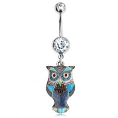 Piercing do bruška z chirurgickej ocele, modrá glazúrovaná sova