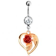 Oceľový piercing do pupka, obrys srdca zlatej farby, oranžová ruža